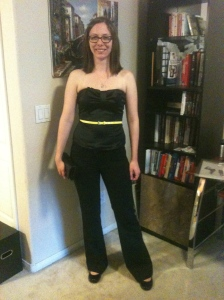 black pants with corset top and micro thin belt